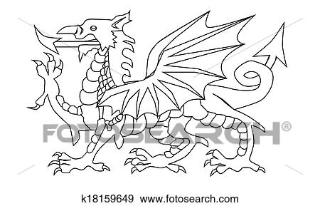 Clip Art of Welsh Dragon Outline k18159649 - Search Clipart ...