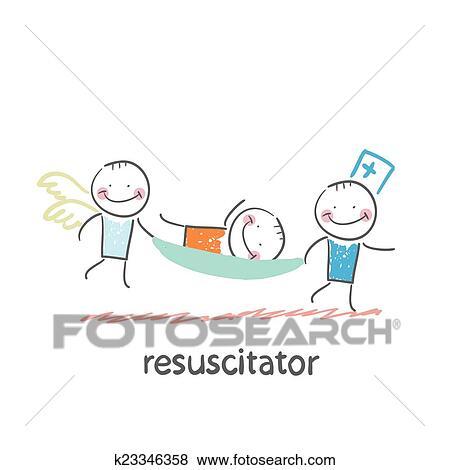 剪贴画 - resuscitator, 继续, a, 担架, 患者.图片