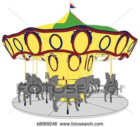 Clipart of Boy on the carousel k1441352 - Search Clip Art ...