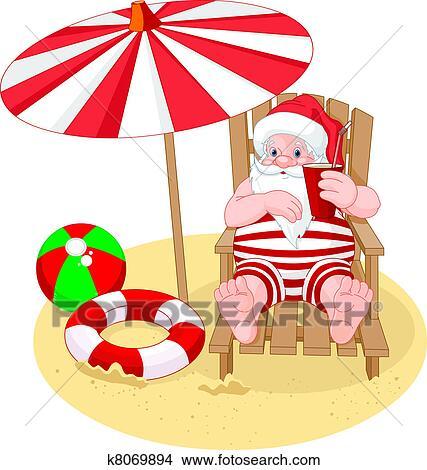 剪贴画 圣诞老人, 放松, 在海滩上