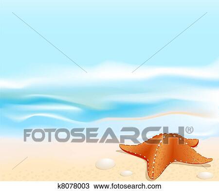 Disegno marino paesaggio con uno stella mare for Disegno paesaggio marino