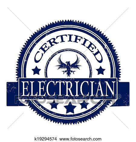 Clipart Of Certified Electrician Stamp K19294574
