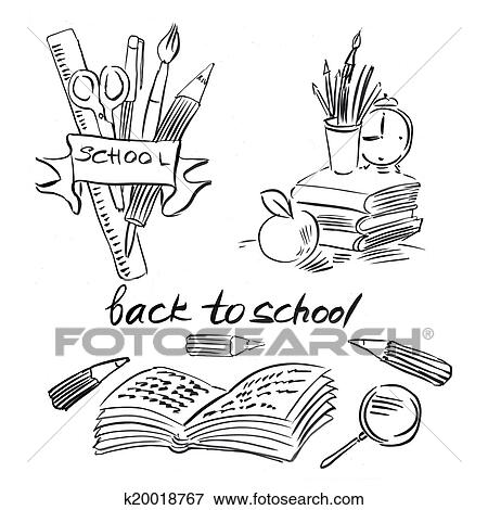 Schule clipart schwarz weiß  Stock Illustration - uhr, ein, apfel, buecher, und, bleistifte ...