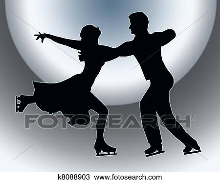 Drawing Of Spotlight Back Silhouette Ice Skater Couple