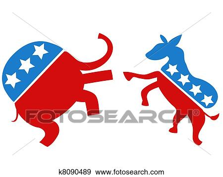 clip art of election fighter the democrat vs republican k8090489 rh fotosearch com republican party clipart republican christmas clipart