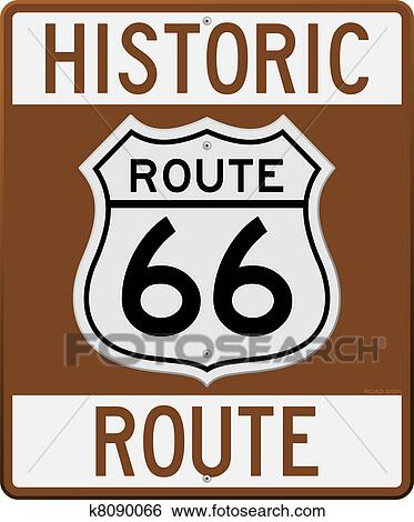 clip art of historic route 66 sign k8090066 search clipart rh fotosearch com route 66 sign clipart free rt 66 clipart
