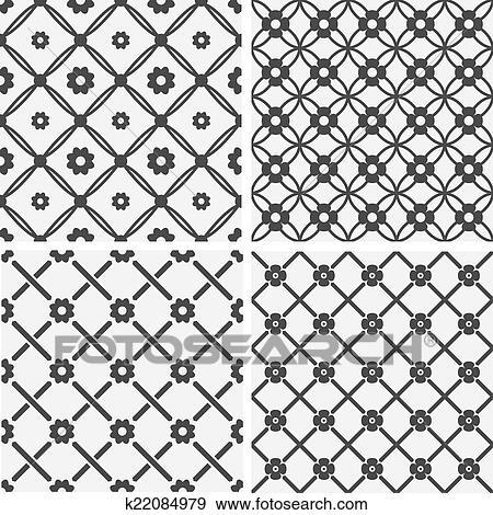 clipart vecteur seamless carrelage motifs g om trique fleurs k22084979 recherchez. Black Bedroom Furniture Sets. Home Design Ideas