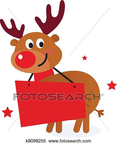 Clipart of Cute reindeer with christmas banner isolated on white ...