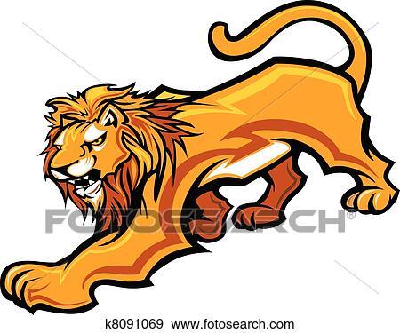 clip art of lion mascot body vector graphic k8091069 search rh fotosearch com