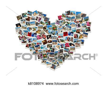 banque de photo voyage passion forme coeur collage fait de mondiale photos k8108974. Black Bedroom Furniture Sets. Home Design Ideas