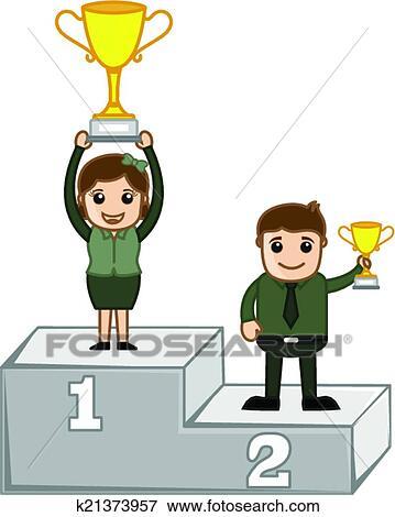 Clipart dessin anim vainqueurs sur podium vecteur - Dessin podium ...
