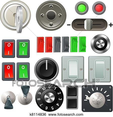 Clip Art Of Knob Switch And Dial Design Elements K8114836