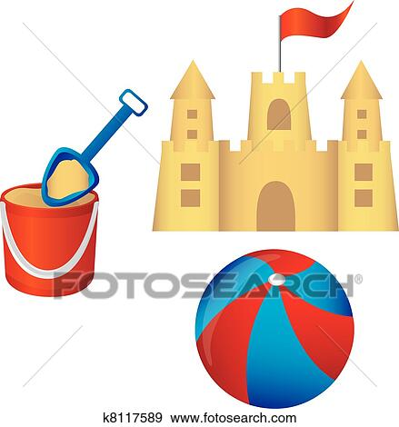 clip art of sandcastle set vector k8117589 search clipart rh fotosearch com beach sand castle clipart sand castle clipart png