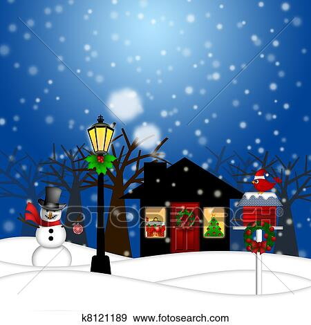 Drawing of House and Lamp Post in Winter Christmas Scene ...