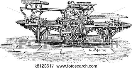 Clip Art of Double printing press vintage engraving k8123617 ...