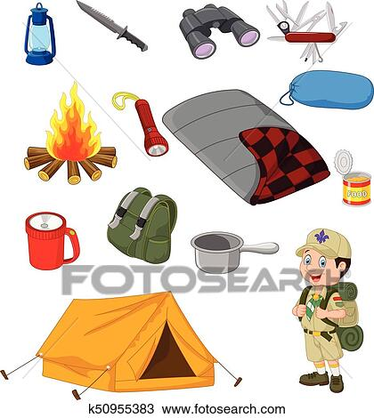 Clipart Of Hiking Camping Equipment Base Camp Gear And Outdoor