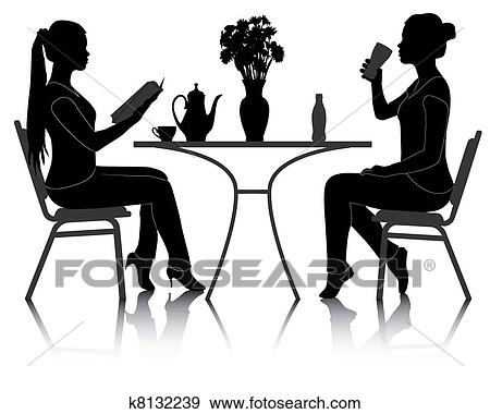 clip art zwei m dchen an a tisch in a caf k8132239 suche clipart poster. Black Bedroom Furniture Sets. Home Design Ideas