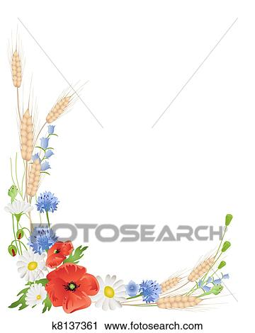 Clipart of wildflower border k8131291 - Search Clip Art ...