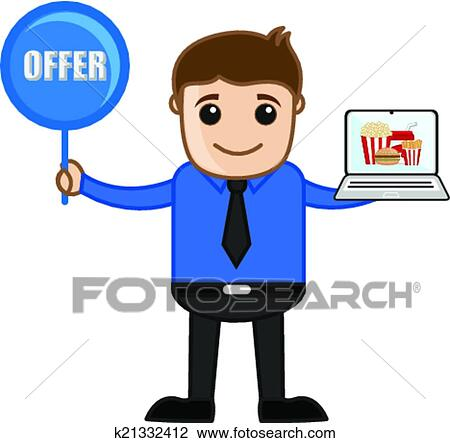 clipart of salesman presenting offer on snacks k21332412 search rh fotosearch com Selling Clip Art Sale Clip Art