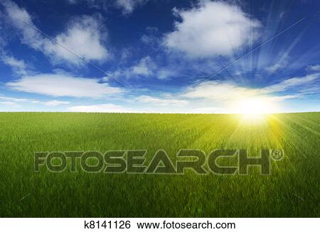 Stock illustration of sunny sky over grassy field k8141126 search stock illustration sunny sky over grassy field fotosearch search clip art drawings voltagebd Images