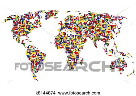 Drawing A World Map. Drawing  World map made of flags Fotosearch Search Clip Art Illustrations Wall Drawings k8144874