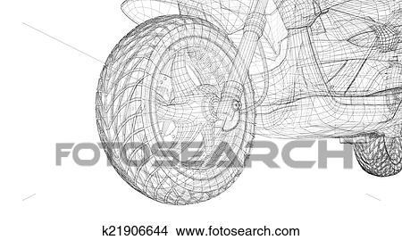 手绘图 - 小摩托车, 在上