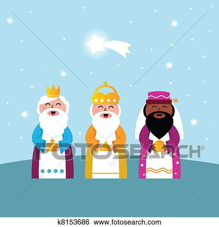 Clip art of three wise men bringing gifts to christ k8153686 search