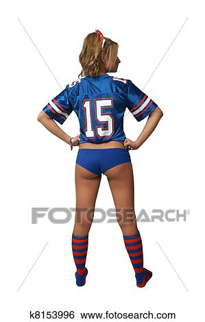 football fan clipart. a full-length shot of sexy young blonde wearing booty shorts and football jersey with matching socks. isolated on white background generous fan clipart i