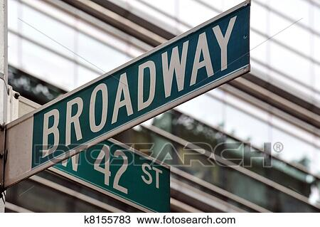 Stock Photo of Broadway 42nd street sign k8155783 - Search ...
