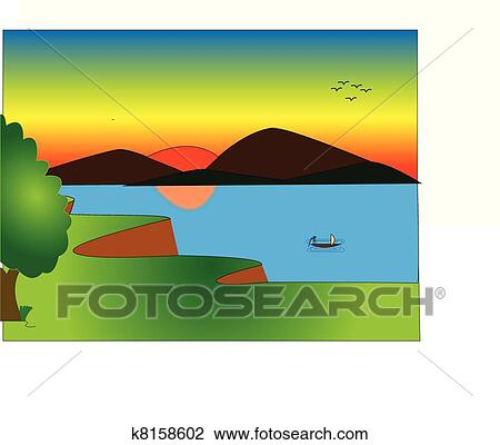 Boat Scenery Drawing Drawing Pictures of Natural