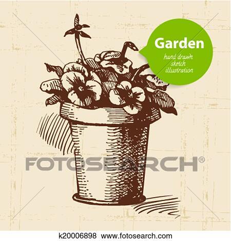Clip art altmodisch skizze kleingarten hintergrund for Kleingarten design