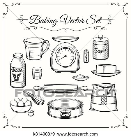 Kitchen Tools Drawings clip art of baking food ingredients and kitchen tools in hand