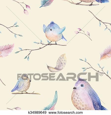 Archivio illustrazioni acquarello primavera rustico - Primavera uccelli primavera colorazione pagine ...