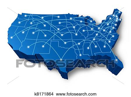 Drawings Of USA D Map Communication Network K Search - Drawing of usa map