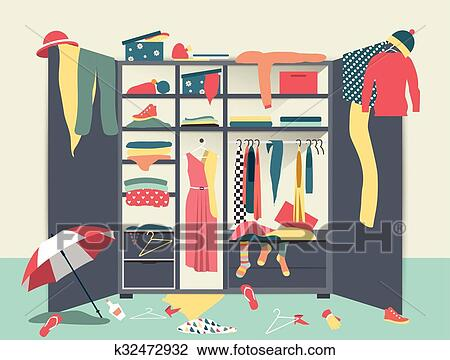 Clipart Of Open Wardrobe White Closet With Untidy Clothes Shirts