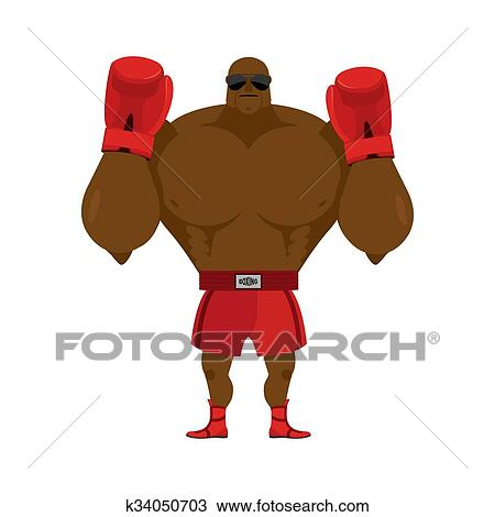 Clipart of African American boxer. Fighting stand. Strong champion ...
