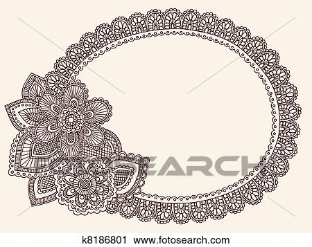 Hand drawn lace doily henna mehndi paisley flower doodle vector