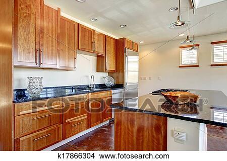 Stock foto   helder, whisky, kleur, keuken, met, zwart marmer ...
