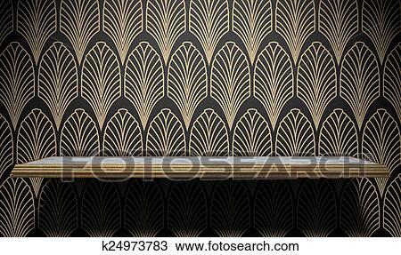 Tekening lege art deco plank op muur k24973783 zoek clipart illustratie fine art - Deco grijze muur ...