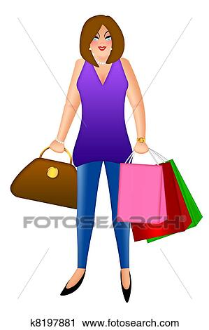 clipart of woman with shopping bags and handbag purse illustration rh fotosearch com  women shopping clip art free