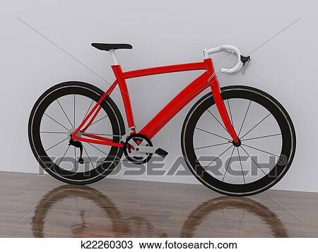手绘图 - 红的自行车