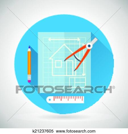 Clipart Of Engineering Planning Symbol Blueprint And Compass Divider
