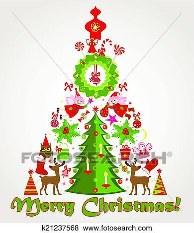 剪贴画 - 圣诞节树
