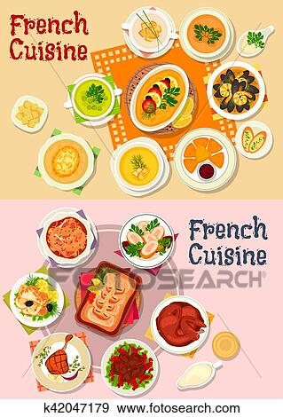 Clip Art - französische küche, national, tellergericht, symbol ... | {Französische küche clipart 38}