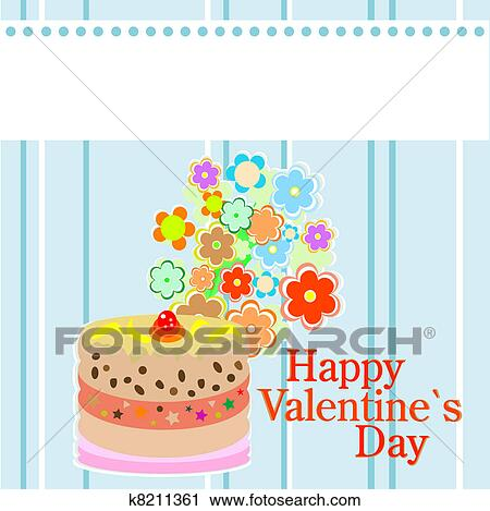 Clipart of valentine`s party flowers and delicious cakes ...