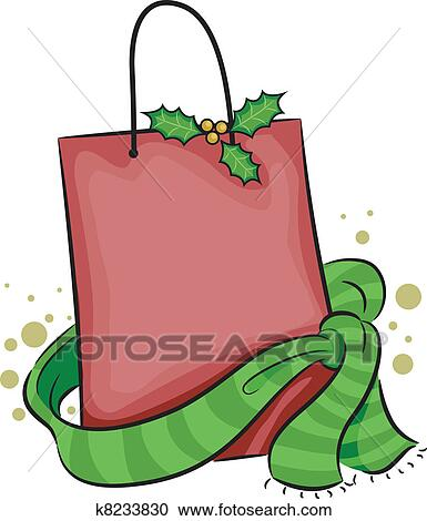clipart of christmas shopping bag k8233830 search clip art rh fotosearch com Christmas Shopping Cartoons Christmas Shopping Art