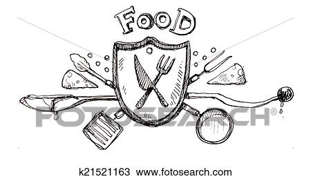 Hand Drawn Shield Hand Drawn Food Shield