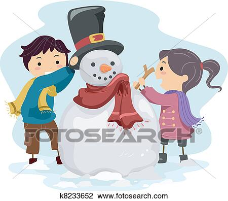 Clipart of Kids Making a Snowman k8233652 - Search Clip Art ...
