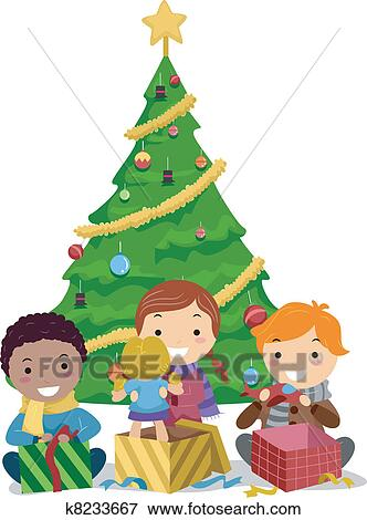 Clip Art of Kids Opening Gifts k8233667 - Search Clipart ...