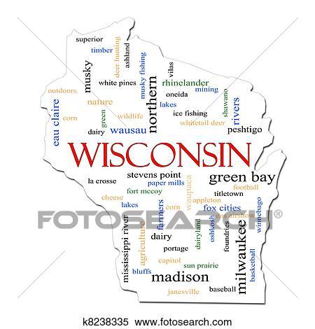 archivio illustrazioni mappa wisconsin parola nuvola